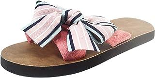 DAIFINEY Dames pantoffels Bowknot platte strandsandaal comfortabele pantoffels knuffelig thuis indoor outdoor slippers vri...