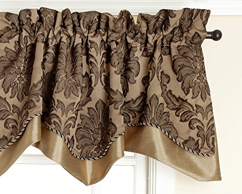 Style Master Renaissance Home Fashion Darby Layered Scalloped Valance with Cording, Gold, 50 by 17-Inch