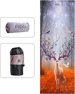 """wwww pido Yoga Towel Non Slip Sweat Absorbent Towel Convenient Widened Folded Fitness Blanket with Bag 72""""x26""""(Blessing Deer)"""
