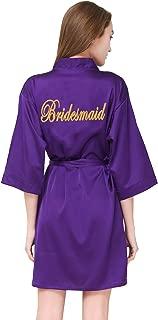 Women's Satin Robe,Silky Kimono Bathrobe for Bride Bridesmaids,Wedding Party Loungewear Short S-XL