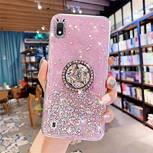 Glitter Case Compatible with Galaxy A10, Bling Diamond Transparent Soft Silicone TPU Gel Rubber Phone Case with Ring Stand Holder Crystal Clear Bumper Protective Cover for Galaxy A10,Pink