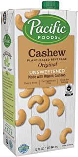 Pacific Foods Cashew Unsweetened Original Plant-Based Beverage, 32oz, 6-pack
