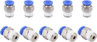 """SNS SPC1/4-01NPTBE 1/4""""Tube OD x 1/8 NPT Male Straight Nickel Plated Brass Push to Connect Pneumatic Fittings(10 PCS)"""