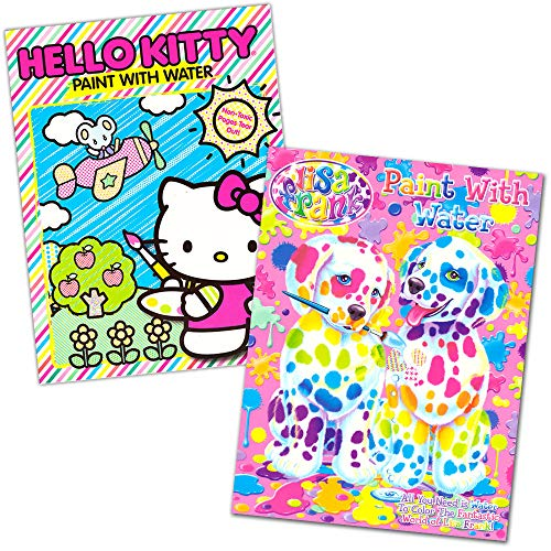 Lisa Frank and Hello Kitty Paint with Water Books, 16 Tear Out Pages (2 Books), covers(vary)