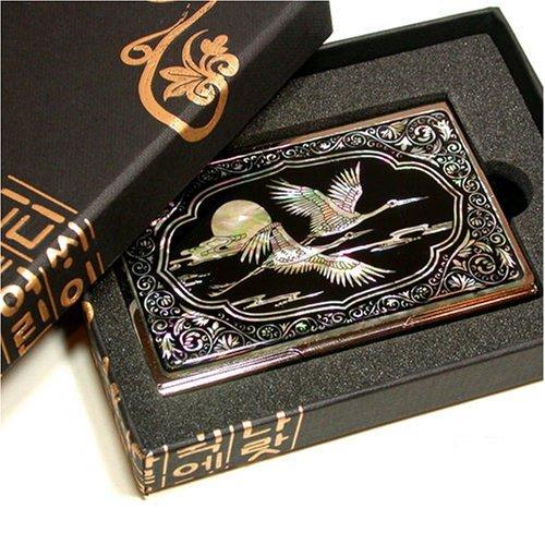 Visiten- und Kreditkartenetui, handgefertigtes Perlmutt Geschenk, fliegende Kraniche