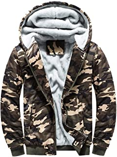 Camouflage Coats Fleece Hoodie Plus Velvet Padded Zipper Hooded Warm Sweater Jacket for Men