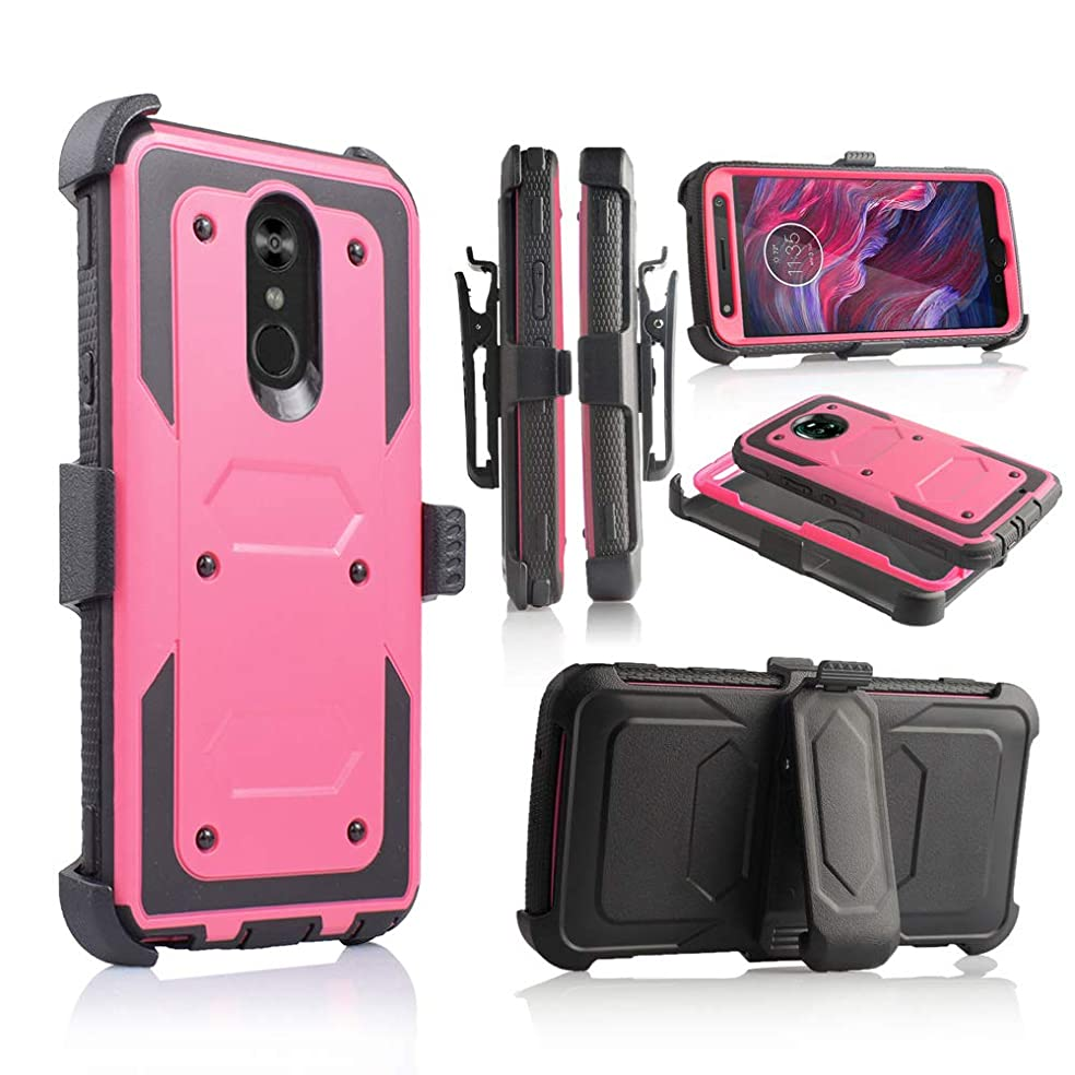 Compatible for LG Stylo 4 Phone Case, [Full Body Defender Protection] [Kick-Stand] Full-Body Heavy Duty Case with [Built-in-Screen Protector] [Belt Clip Holster] (Hot Pink)