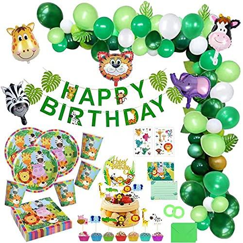 Jungle Décorations Anniversaire Garcon Enfant-Bannière Joyeux Anniversaire Latex Ballons et Safari Forest Animaux Ballon pour garçon Anniversaire bébé Douche décor Vaisselle Biodegradable