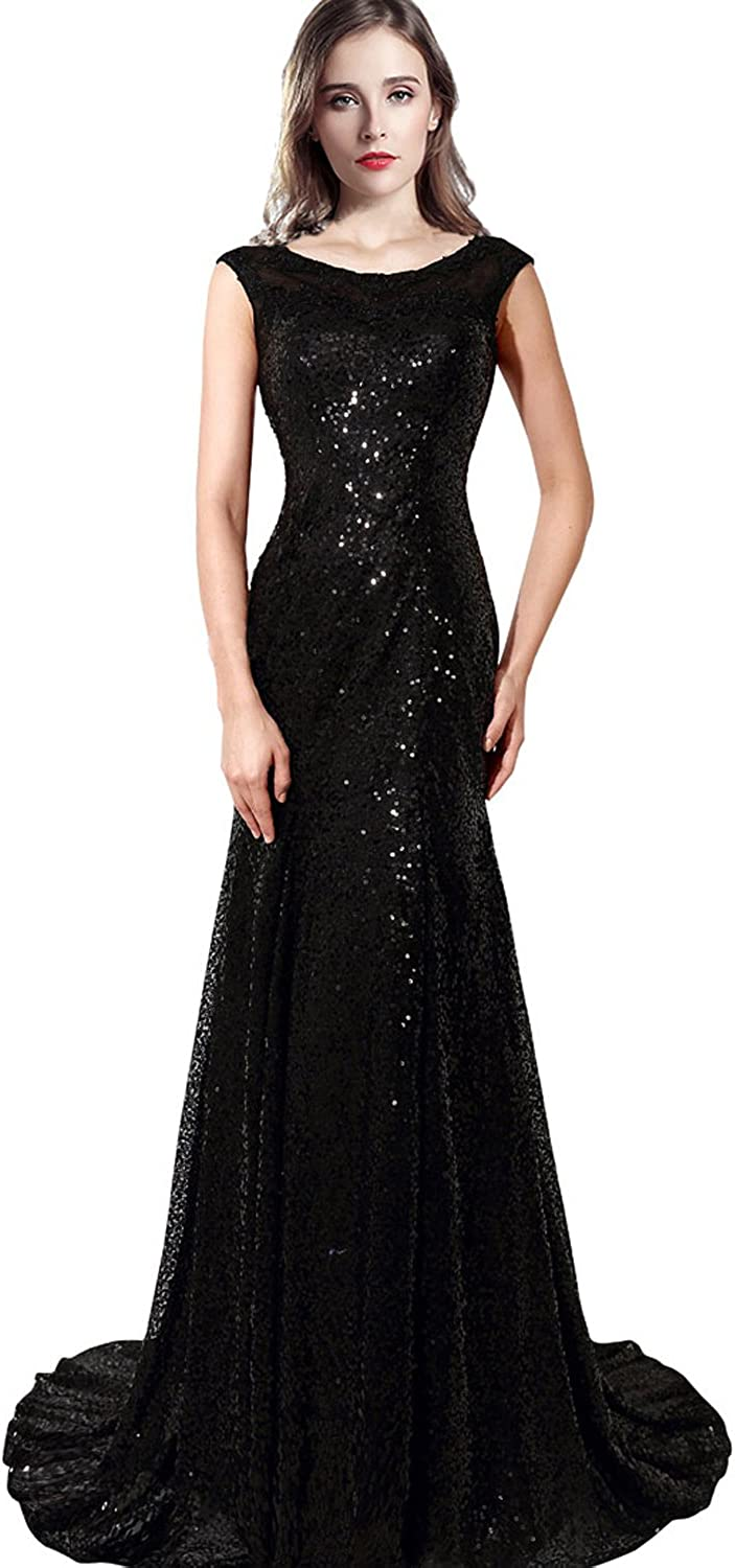 Clearbridal Women's Sequins Long Prom Bridesmaid Dresses 2016 Formal Gowns