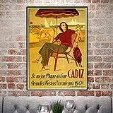 Vintage Strand Surfen Reise Poster Cadiz Klassische