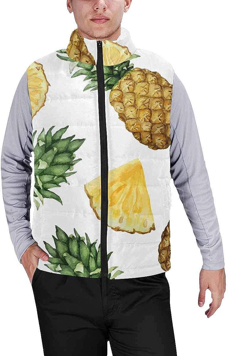 InterestPrint Men's Full-Zip Soft Warm Winter Outwear Vest Watercolor Pineapples S