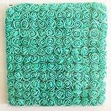 Artfen Mini Fake Rose Flower Heads 144pcs Mini Artificial Roses DIY Wedding Flowers Accessories Make Bridal Hair Clips Headbands Dress (Bottom add Gauze) Tiffany Blue