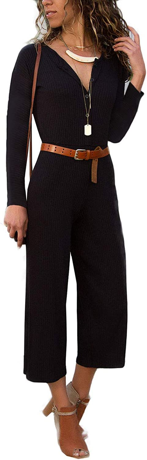 Angsuttc Wome's Ribbed Long Sleeve Button Down Wide Leg Cropped Pant Jumpsuit Romper