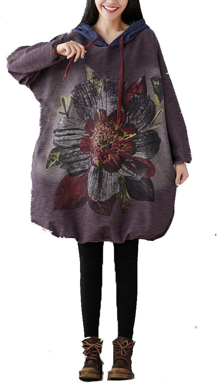 LXYIUN Frauen Hoodie, Damenkleid in übergrenausschnitt Langarm-Baggy-Kleid mit Tasche Eine Gre,lila