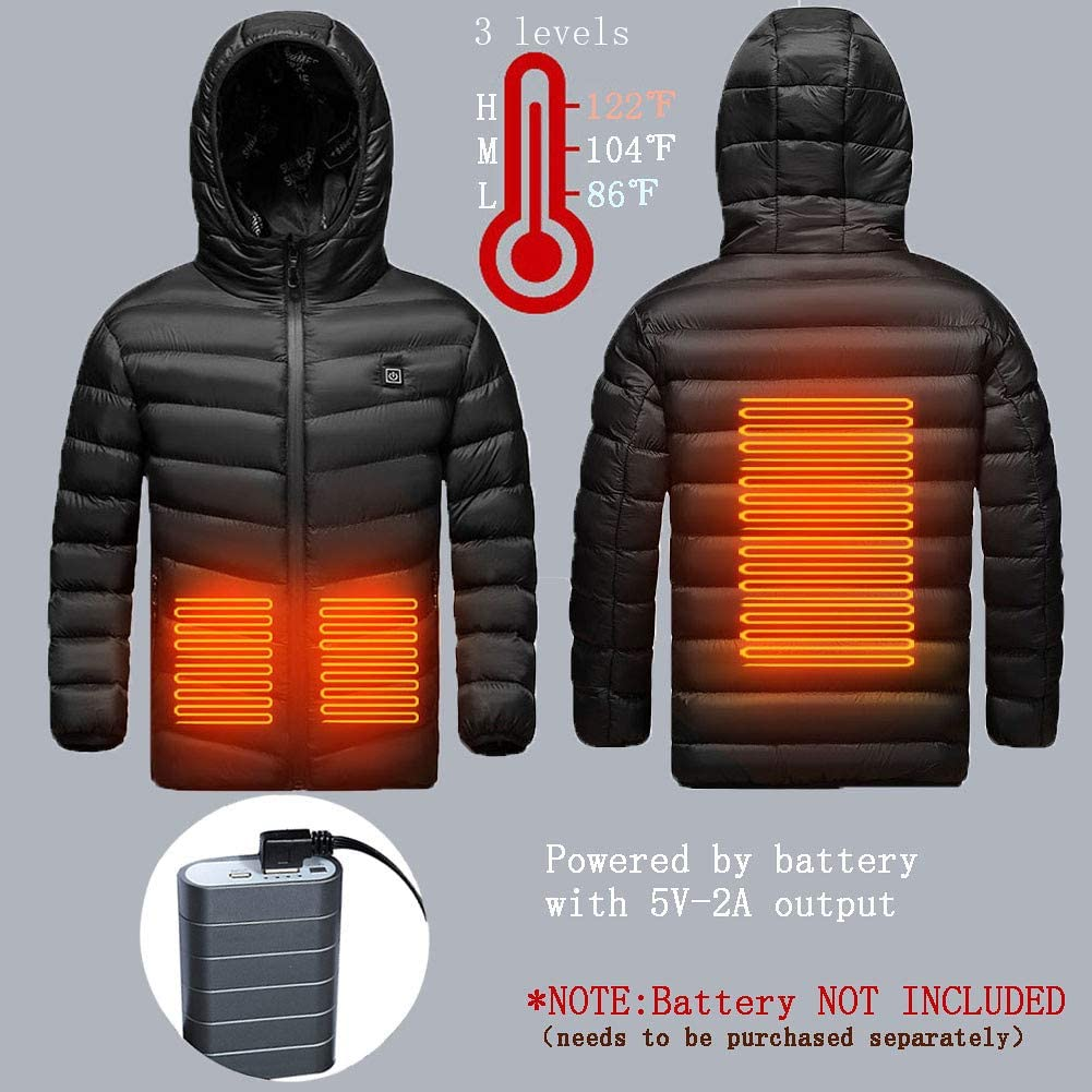 Kids Winter Heated Jacket with Hood for Boys Girls Winter Gift BATTERY NOT INCLUDED