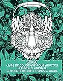 Livre de coloriage pour adultes - Conceptions anti-stress Animal - Fleurs et animaux - Singe