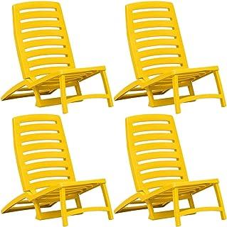 Benkeg Juego De 4 Sillas De Playa O De Camping Plegables de Plástico Amarillo 42 x 58 x 64 cm Sillas De Playa Plegables Tumbonas Jardin Exterior Resistente a la Intemperie