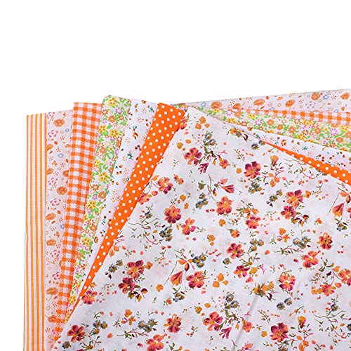 Anniston Art & Craft Sewing Set, 7Pcs 25x25cm Floral Patchwork Cotton Fabric Plain Cloth for DIY Sewing Quilting Sewing Supplies for DIY Beginners Adult Kids Teens Girls, Orange