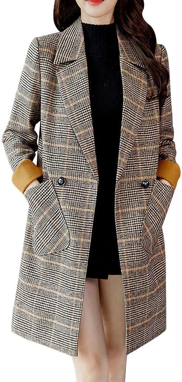 Women Vintage Plaid Print Buttons Pocket Winter Warm Long Sleeve Jacket Coat