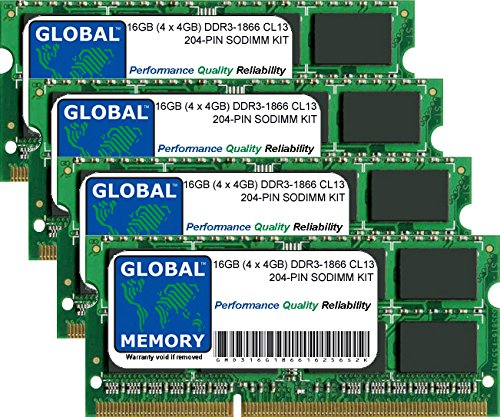 16GB (4 x 4GB) DDR3 1866MHz PC3-14900 204-PIN SODIMM MEMORY RAM KIT FOR LAPTOPS/NOTEBOOKS