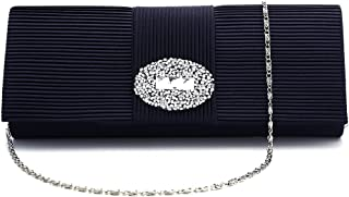 Ladies Designer Pleated Satin Wedding Evening Bags Formal Clutch Purse Crystal Evening Handbag for Women