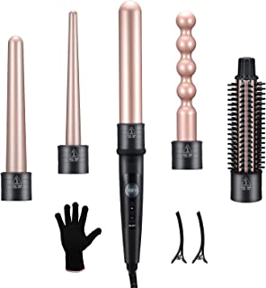 Sponsored Ad - MAXT Curling Iron, 5 in 1 Curling Wand Set with Hair Straightener Brush, Interchangeable Ceramic Barrels, 6...