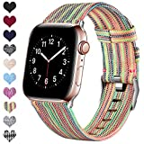 Ouwegaga Compatible con Apple Watch Correa 38mm 40mm 42mm 44mm, Banda de Tela Tejida de Repuesto, Pulsera Deportiva de Nylon Compatible con iWatch Series 5 4 3 2 1, Multicolor 38mm/40mm