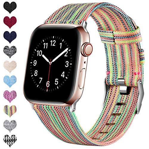 Ouwegaga Kompatibel mit Apple Watch Armband 38mm 40mm 42mm 44mm, Ersatzgewebe Band Nylon Armband Kompatibel mit iWatch Serie 5 4 3 2 1, Bunt 38mm/40mm