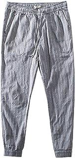 ZhixiaYS Summer Men Casual Harem Pants Linen Stripe Loose Pants Jogger Pants Fitness Trousers