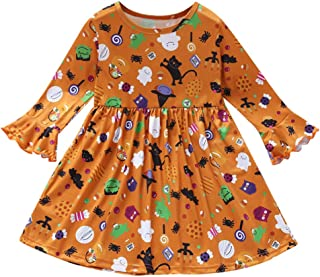 Toddler Baby Girls Cartoon Cat Print Onesies Dress Ruffled Long Sleeve Romper Halloween Costumes Christmas Party Orange