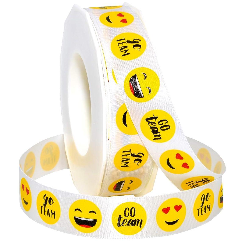 Morex Ribbon 4211 Emoji Go Team Ribbon 7/8 inch by 20 Yards Yellow