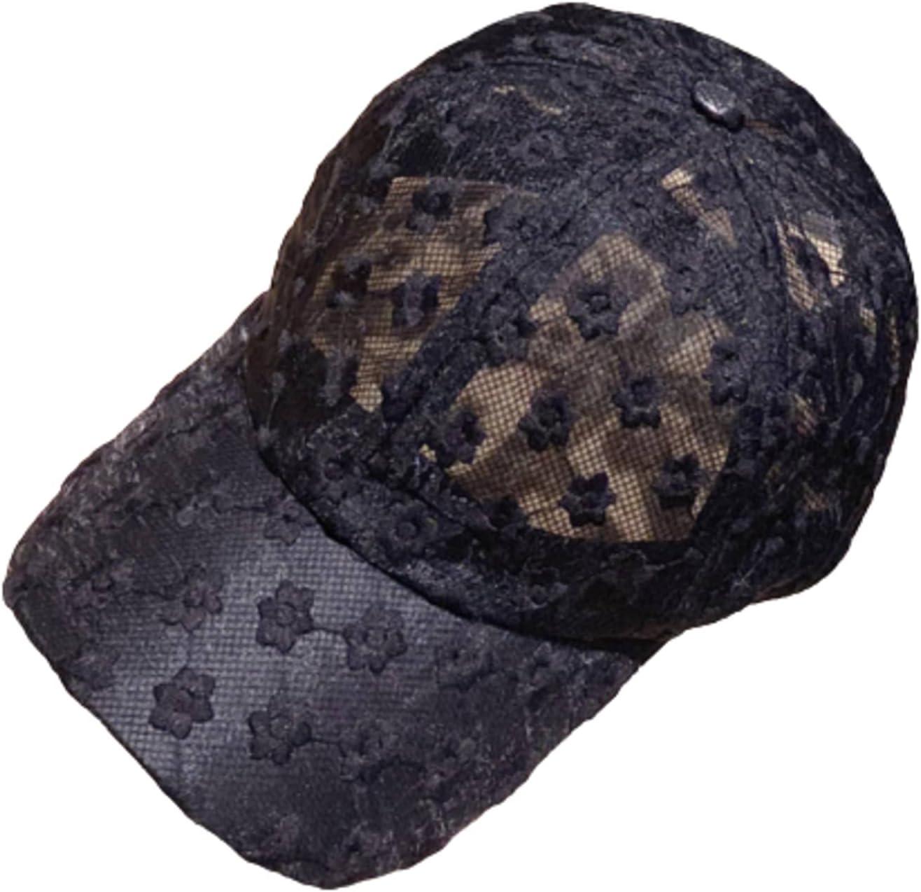 Lace Female Hat Summer Baseball Cap Fashion Sunshade Hollow Hat Black Breathable Beach Sunscreen Hat Women's