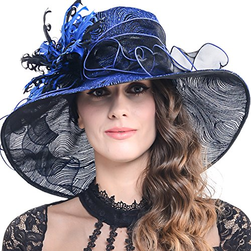 FORBUSITE Kentucky Derby Church Hats for Women Dress Wedding Hat Feather Royal Blue
