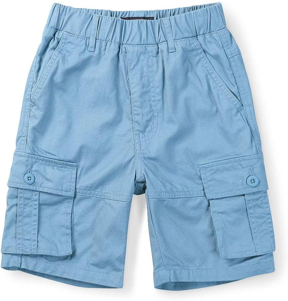Mesinsefra Boys Lightweight Casual Adjustable Waist Multi Pocket Cargo Shorts
