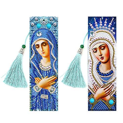2 Pezzi 5D Segnalibri di Diamante Pittura,MWOOT DIY Diamond Painting Bookmark,Perline Segnalibri di Diamanti,Segnalibri Nappa di Cuoio,Diamante Ricamo Craft Arts Regalo (Nostra Signora)