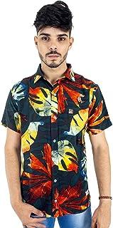 Camisa Masculina Florida Preta de Mangas Curtas Bamborra