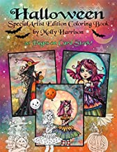 Halloween Coloring Book - Special Artist Edition Spiral Top Bound on Card Stock by Molly Harrison Fantasy Art - Witches, vampires, fall themes
