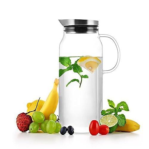 Sama Verre Borosilicate Carafe d'eau Thé glacé Pitcher, jus de pot de café Bouteille d'eau Carafe avec couvercle en verre et poignée en acier inoxydable, 1,300ml, Lfgb Certifié.