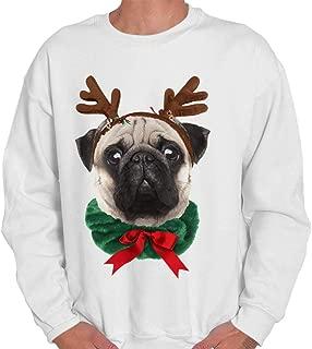 Classic Teaze Cute Reindeer Ear Pug Adorable Christmas Crewneck Sweatshirt