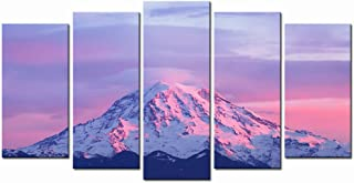LevvArts - Large Canvas Print Wall Art Pink Sunset on Mount Rainier Cascade Range Picture Paintings 5 Panels Artwork Giclee Prints Stretched and Framed for Home Living Room Wall Decor