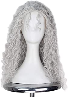 Miss U Hair Women Classic Long Afro Curly Witch Cosplay Costume Wig Punk Lolita Wig (Silver)