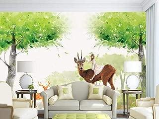 3D Wallpaper Girl Tree Elk Watercolor Wall Mural Wallpaper Home Decor Wallpaper for Home Living Room Bedroom Indoor and TV Background 200cmX140cm