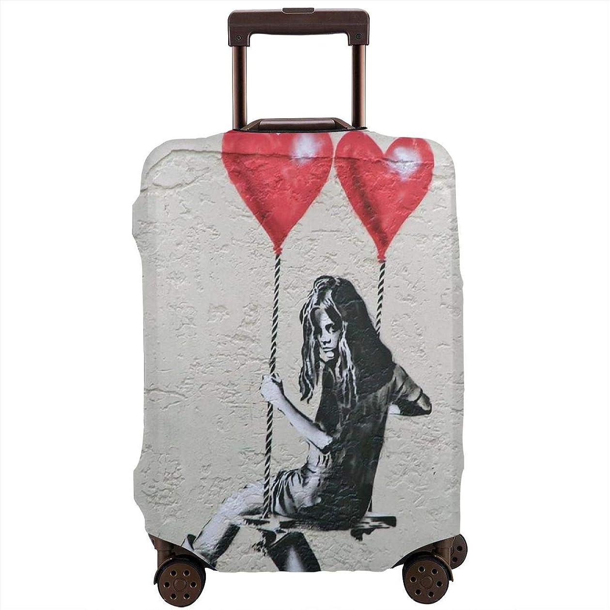柔らかい足拡声器ペインティングレッドカラー スーツケースカバー ラゲッジカバー キャリーカバー Banksy バンクシー ストリート 防塵カバー トランクカバー 旅行用品 トラベルダストカバー