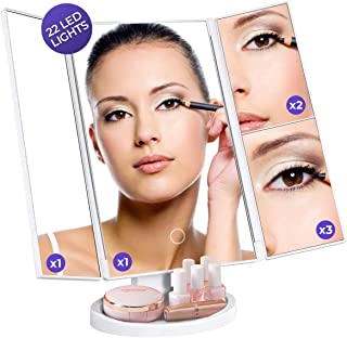 Led High-Definition Makeup Mirror - Trifold Vanity Lights for Dresser, Bathroom - Lighted Glass...