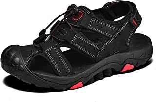 XueQing Pan Summer Outdoor Beach Sandals for Men Climbing Hiking Water Sports Shoes Genuine Leather Hook&Loop Strap Strong Antislip Outsole (Color : Black, Size : 9 UK)