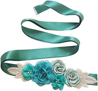 WDING Bridal Rhinestone Wedding Sash Belt With Ribbon for Wedding Party Prom Evening Dresses