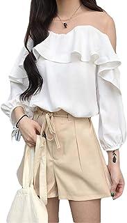 BeiBang(バイバン)tシャツ レディース トップス 七分袖 シフォンシャツ オフショルダー ゆったり セクシー 切り替え 韓国ファッション 薄手 夏物