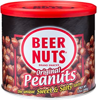 BEER NUTS Original Peanuts - 12oz Resealable Can, Sweet and Salty, Gluten-Free, Kosher, Low Sodium Peanut Snacks