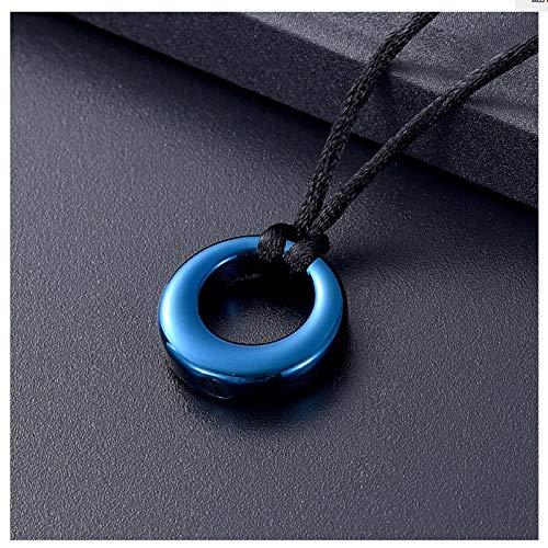 Wxcvz Collar de urna de cremación, Colgante de cremación de Acero Inoxidable de Color Azul, Collar de urna Conmemorativa de Recuerdo de círculo de Vida para Mujeres/Hombres