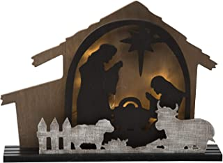 Lighted Rustic Christmas Nativity Scene with Creche - Tabletop Holiday Decoration